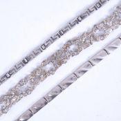 3 silver bracelets, 1 with Greek Key decoration