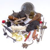 Various interesting collectables, including bronze furniture corner mask mount, small bellows,