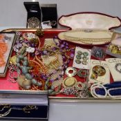 A tray of costume jewellery, to include a pair of Ortak Celtic design earrings, a lotus pearl