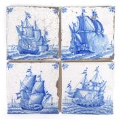 A group of Delft blue and white tiles, sailing ship designs, all approx 13cm square (4)