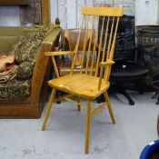 A handmade ash and beech stick-back armchair, stamped LP.30.7.94CH to rear of seat