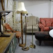 2 gilt-metal standard lamps, and another (3)
