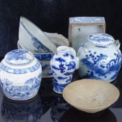 A group of Chinese blue and white ceramics, including pottery bowls, teapot, baluster vase etc (7)