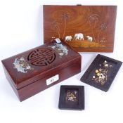 A Chinese mother-of-pearl inlaid hardwood box, 2 Shibayama hardstone and gilded inset panels, and an
