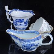 Various Chinese ceramics, including Chinese export blue and white pedestal cream jug, a triple-lobed
