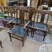 A set of 5 Edwardian mahogany William Morris Hampton Court chairs, with studded leather seats, and
