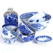 A group of Chinese blue and white ceramics, including gilded tea bowls and caddy, 18th century