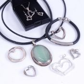 Sterling silver and leather heart design pendants, necklaces etc
