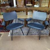 A pair of contemporary over-dyed lounge chairs, by Diesel with Moroso, Italy, with plywood seat