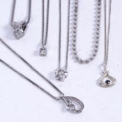 JENS JOYS AAGAARD - a silver and stone set pendant necklace, and 5 other silver and stone set