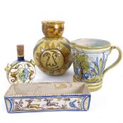 A group of Majolica pottery, including Italian Certosa Di Firenze flask, jug etc, largest height