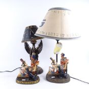 2 modern Egyptian Revival table lamps, and a similar resin sculpture, height 19cm (3)