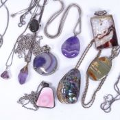 A collection of amethyst, mother-of-pearl and polished stone set silver pendants and necklaces