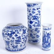 3 Chinese blue and white ceramics, including squat baluster jar, dragon sleeve vase with 4 character