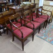 A set of 8 19th century mahogany dining chairs, with table-top rails and upholstered drop-in