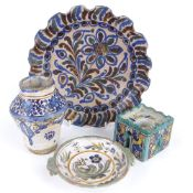 A group of European Maiolica pottery, including architectural design inkwell, floral frilled plate