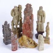 A group of Oriental hardstone carvings and figures, largest height 17cm (8)