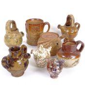 A group of stoneware pottery, including miniature Sarum kettle jugs, salt glaze mug etc (8)