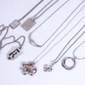 7 various silver pendant necklaces