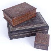 3 Eastern carved hardwood boxes, including Vizgapatam example, length 20cm (3)