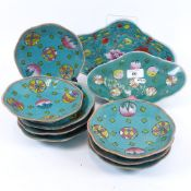 A set of Chinese turquoise glaze pottery plates and dishes, plate diameter 15.5cm (10)