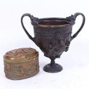 A Neoclassical Renaissance patinated bronze urn, and a Dutch copper and brass jewel box, urn