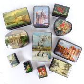 A group of Russian black lacquer Palekh boxes, some with hand painted lids, largest length 13.5cm (