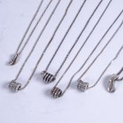 6 various Danish silver pendant necklaces, 4 with spiral barrel pendants etc