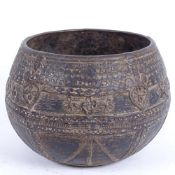 A Middle Eastern? bronze bowl, allover Arabesque decoration, diameter 16cm