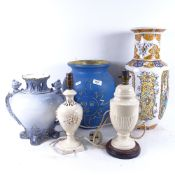 An Oriental vase, 46cm, 2 other vases, and 2 table lamps