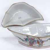 A pair of 19th century Chinese famille rose bat-shaped bowls, hand painted decoration with figures