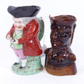 A Chelsea Pottery Toby jug, and a treacle glazed Duke of Wellington character jug, height 18cm (2)