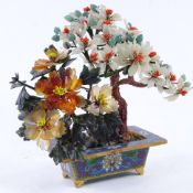 A Chinese jade and hardstone tree, in cloisonne planter, height 17cm. Overall good condition, a