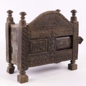 A miniature Afghan carved and stained wood marriage/dowry chest, probably early 20th century, carved