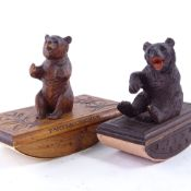 2 Black Forest wood carved bear ink blotters, largest 15cm long. Smaller blotter is in good