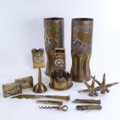 A group of trench art, including a 1916 matchbox stand with Turkish emblem, a Vimy Ridge April 9th