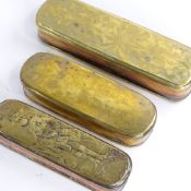 3 18th century Dutch brass tobacco boxes with engraved decoration, largest length 20cm Decoration is