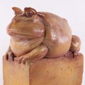 TONY BENNETT FOR RYE POTTERY - large salt glaze terracotta toad sculpture, impressed artist's