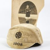 ENGLAND FOOTBALL INTEREST - a 1908 England Football Cap worn by George Wall (1885 - 1962), and an