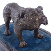 A bronze-patinated spelter Bulldog wearing a collar, seal mark under foot BK Co, early 20th century,