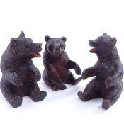 3 19th century Black Forest bears, tallest 9cm. Bear 1 - small repair to bottom left paw. Bear 2 -