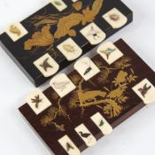 2 Japanese gilded and lacquered wood and Shibayama Bezique markers, the ivory keys having inset