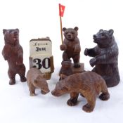 A group of 19th/20th century Black Forest bears, tallest figure 8cm. (7)