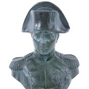 A green patinated spelter bust of Napoleon Bonaparte, on black marble base, height 20cm Very good