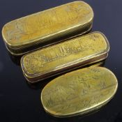 3 18th century Dutch brass tobacco boxes with engraved decoration, largest length 17cm Decoration is