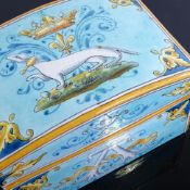 A French Majolica dome top box, signed to base Ulysse Blois, E Balon, length 12.5cm Good