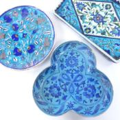 3 pieces of Iznik / Multan style earthenware, tray 29cm long. Plate - good condition Tray - 2