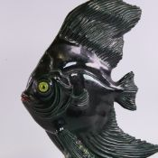 SR BONOME (1901-1995), French mid-century ceramic fish sculpture, coloured seabed highlights, signed
