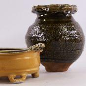 MARTIN LUNGLEY, BRITISH Studio Pottery, Japanese style Tsubo Vase and footed ash glaze bowl, vase