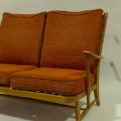 ERCOL, mid-century Windsor 2 seater sofa, with web back and seat, original orange/brown fabric, H